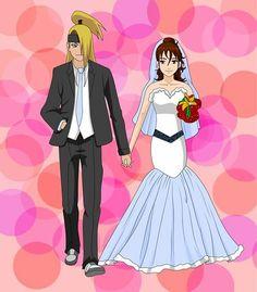 Deidara und ich bei unserer Hochzeit *o* (selbst gemalt)