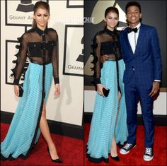 Zendaya Coleman wears Emanual Ungaro dress at Grammy Awards with Boyfriend Trevor Jackson- I really like this dress is great for a woman any age and I think it gives for different sizes too