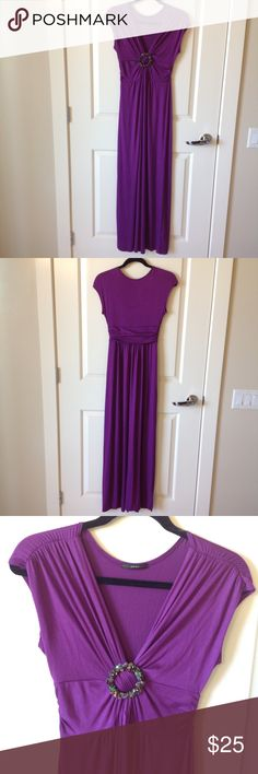 Knit maxi with jewel detail. Soft tee shirt fabric with vibrant color and cute styling! Soprano Dresses Maxi