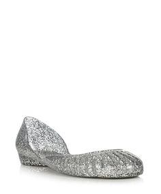 Holster Silver-tone glitter jelly flat pumps