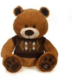"""10"""" sitting bear with sweater & """"#1 dad"""" Case of 12"""