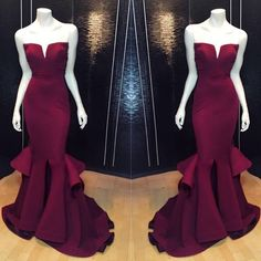 Sexy Burgundy Mermaid Long Prom Dresses ,Sexy Maroon