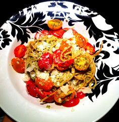 Spaghetti with Pesto & Baby Heirlooms  www.SizzleCooks.com