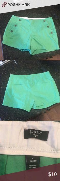 J Crew Green Shorts J. Crew Green Shorts, Size 4. Stretch shorts, worn only a few times. J. Crew Shorts