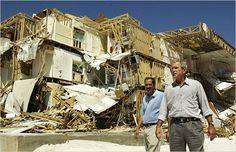 President Bush at a condominium on the Alabama beachfront after Hurricane Ivan hit in 2004.