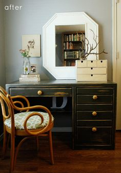 Great before's and after's and Great inspiration for repurposing things! @Gwen Kelley this desk reminds me of your computer desk, the before one that is. The after would look great... Project! :)