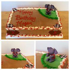 Alabama birthday cake I made. Hand sculpted fondant/gumpaste elephant.