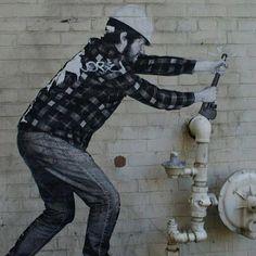 What fun graffiti Liu Hong Toronto: Plumber Street Art Street Art Banksy, Murals Street Art, 3d Street Art, Banksy Art, Amazing Street Art, Street Artists, Urbane Kunst, Graffiti Artwork, Sidewalk Art