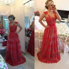 Sexy Red Pearls Lace Evening Dress 2016 Sheer Floor-Length - Products - 27DRESS.COM