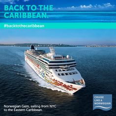 Hail a cab to Midtown and then hop aboard Norwegian Gem as she sails from NYC to the Eastern Caribbean starting October 19th. #backtothecaribbean