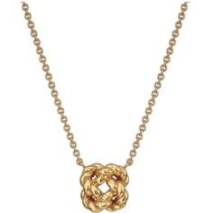 Tory Burch Rope Knot Delicate Necklace (Tory Gold) Necklace ($75) ❤ liked on Polyvore featuring jewelry, necklaces, gold rope necklace, gold knot necklace, gold pendant, adjustable knot necklace and pendant necklace