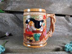 Vintage musical beer stein with pewter lid old world for Japan craft beer association