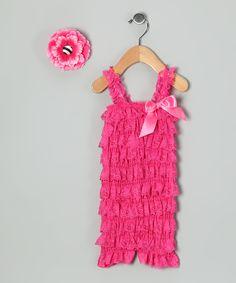 Fuchsia Lace Ruffle Romper & Clip - Infant & Toddler