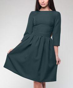 Dark Emerald Three-Quarter Sleeve A-Line Dress - Plus Too #zulily #zulilyfinds