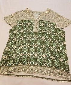 Laura Scott XL womens jersey knit green top v neck buttons batik print stretch