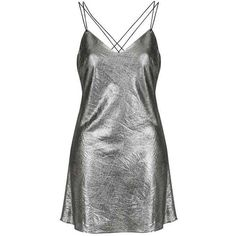 Metallic Slip Dress by Topshop Finds ($56) ❤ liked on Polyvore featuring dresses, metallic dress, retro style dresses, strappy dress, cross back dress and low back slip dress