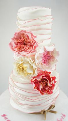 "White and pink ruffles. We can help achieve this look at Dallas Foam with cake dummies, cupcake stands and cakeboards. Just use ""2015pinterest"" as the item code and receive 10% off your first order @ www.dallas-foam.com. Like us on Facebook for more discount offers!"