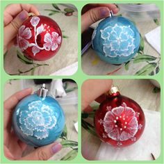 Mud paint decorations on ornaments! Makes great Christmas gifts or just a personalized touch on your tree!! :)