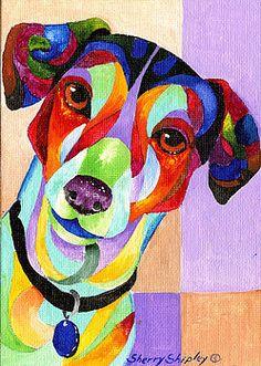 Jack Russell Terrier Painting by Sherry Shipley Dog Pop Art, Dog Art, Tiffany Kunst, Arte Pop, Jack Russell Terrier, Animal Paintings, Art Pictures, Art Lessons, Bunt