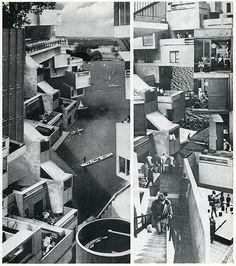 Fotomontages uit een pre-photoshoptijdperk van Ivor De Wolfe (pseudoniem van Hubert de Cronin Hastings) en Kenneth Browne in hun boek Civilia. The End Of Sub Urban Man. A Challenge to Semidetsia in 1971 gepubliceerd bij de Architectural Press London.