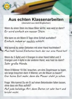 The official site - Funny Test Answers, Text Jokes, German Quotes, Good Humor, Jokes Quotes, Funny Pranks, Funny Posts, Wise Words, Haha
