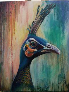 Peacock. Original oil painting by Georgina Michalandos