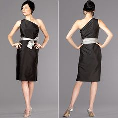 Fabulous, sassy mother of the bride dress by Siri, one-shouder, knee length, natural waist, silk, mother of the groom