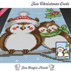 Two Christmas Owls c2c graph crochet pattern; instant PDF download; baby blanket, corner to corner pixel, afghan, graphghan, cross stitch