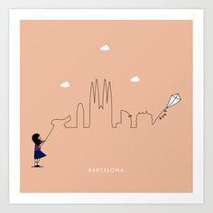 Barcelona Skyline Kite Art Print by keindesign Buy Frames, Kite, Travel Posters, Printing Process, Nursery Decor, Barcelona, Gallery Wall, Skyline, Art Prints