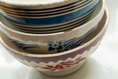Three old French coffee bowl stacked