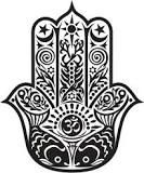 The symbol of an eye embedded in the palm of an open hand has had several names throughout the ages, including the hamsa, hamesh (Hebrew), the eye of Fatima, the hand of Fatima, and the hand of Miriam.  The Soham mantra is also called the Hamsa mantra. Hamsa (or hansa) poses the question, Who am I? Soham provides the answer, I am that.
