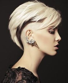 A Short Blonde straight coloured multi-tonal punk shaved-sides womens haircut hairstyle by Tsiknaris Hair
