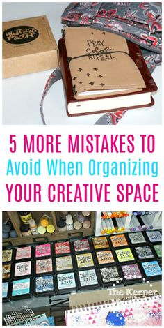 5 Mistakes To Avoid When Organizing Your Creative Space - The Keeper of the Memories Diy Crafts For Kids Easy, Fun Diy Crafts, Diy Craft Projects, Craft Tutorials, Easy Diy, Ribbon Organization, Scrapbook Organization, Craft Organization, Organizing Tips