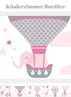Wandgestaltung Für Das Babyzimmer In Rosa Grau | Süsse Elefanten Bordüre |  Zirkus Motiv | Wand