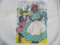 vintage Linen Tea Towel, Mother & Daughter and an Apple Pie, Black Americana.