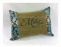 Burlap pillow sleeves backed with dark brown felt so it is sturdier. Travel pillow from Walmart. Machine Embroidery Gifts, Embroidery Applique, Personalized Gifts For Kids, Personalized Pillows, Burlap Pillows, Throw Pillows, Kam Snaps, Burlap Crafts, Country Crafts