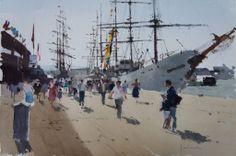 Yardley John (b. 1933, UK)  The big ship. watercolour. 38 x 55 cm.