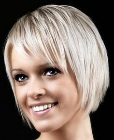 Cute thin blond bob hairstyle with fringe