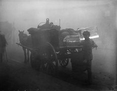 Delivering ice in the fog, London 1919