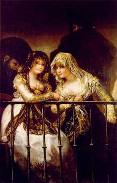 """Majas en el balcón"". Goya.  Ir a: http://www.ganaderoslidia.com/webroot/pinturas.htm"