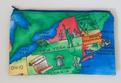 Large Makeup Bag  NEW YORK and NORTHEAST map  by BlueBelugaDesigns
