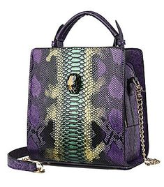 Yan Show Women's Contrast Color Snakeskin Pattern Handbag Chic Chain Shoulder Bag Purple, Purple Snake, Handbag Patterns, Purple Bags, Chain Shoulder Bag, Snake Skin, Contrast Color, Purses, Chic, Stuff To Buy