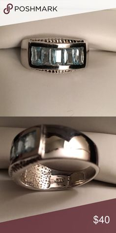 Beautiful Blue Topaz Ring Genuine Blue Topaz Baguette Ring Size 7 Sterling silver (925) with Platinum overlay (for that extra shine!) Total CTW 1.75  Barely worn. Ring shows no wear  (Box for purposes of photo only. Ring will arrive in different box). Jewelry Rings