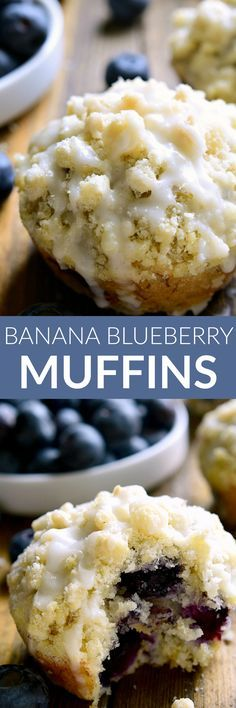 These Banana Blueberry Muffins combine two favorites in one delicious muffin tha. These Banana Blueberry Muffins combine two favorites in one delicious muffin that& perfect for breakfast, brunch, or anytime! Banana Blueberry Muffins, Blue Berry Muffins, Almond Muffins, Vegan Blueberry, Strawberry Banana, Banana Recipes, Muffin Recipes, Frozen Blueberry Recipes, Easy Recipes