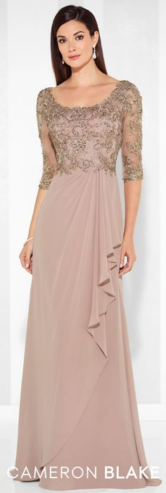 LOVE Prom Dresses Formal Evening Gowns by Mon Cheri - Spring 2017 - Style No. 117612 - chiffon evening dress with beaded lace illusion three-quarter length sleeves and bodice Best Evening Dresses, Chiffon Evening Dresses, Lace Gowns, Evening Gown With Sleeves, Formal Evening Gowns, Formal Gowns With Sleeves, Chiffon Gown, Evening Party, Mother Of Groom Dresses