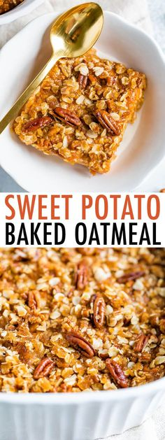 Inspired by sweet potato casserole this Sweet Potato Baked Oatmeal is baked to perfection with a crispy oatmeal pecan topping. Its vegan and gluten-free. The post Sweet Potato Baked Oatmeal appeared first on Tasty Recipes. Sweet Potato Breakfast, Breakfast Recipes, Healthy Sweet Potato Casserole, Baked Oatmeal Casserole, Vegan Breakfast Casserole, Sweet Potato Toppings, Loaded Sweet Potato, Healthy Food Choices, Healthy Recipes