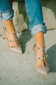 Studded strappy pumps. Might be Banana Republic's as of what I saw in store, Aug 9th 2014.