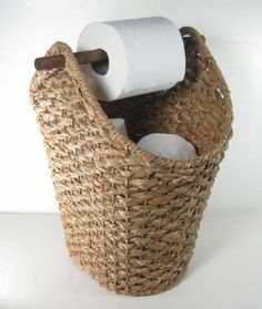 Wicker Rope Basket Toilet Paper Holder Rustic Country Style Bathroom Storage - Basket and Crate Country Style Bathrooms, Toilet Paper Storage, Rustic Toilet Paper Holders, Bad Styling, Rope Basket, Bathroom Styling, Bathroom Ideas, Teal Bathroom Decor, Paris Bathroom