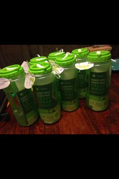 "Sports bottles with - Letter about ""it works"",  blitz card, and berry greens on the go packet. Www.reallywrapping.com"
