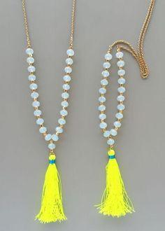 Simple handmade glass bead tassel necklace